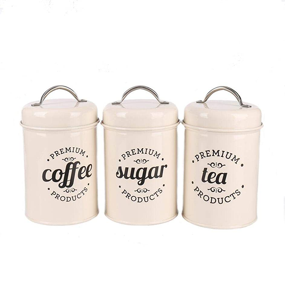 Hot Sale X021B Set of 3 Metal Food Storage Tin Canister/Jar with Lid (Ivory)