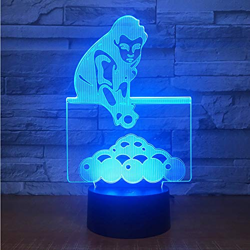 3D Veilleuses Jouer Au Billard Piscines Snooker 3D Lampe De Table 7 Couleurs Changeantes Led Nightlight Décor De Chevet Usb Nouveauté Sommeil Cadeaux Danniversaire