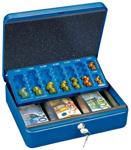Rottner Geldkassette Wien Blau, Euro-Geldzählkassette, Kasse mit unterteiltem Geldeinsatz, Zylinderschloss