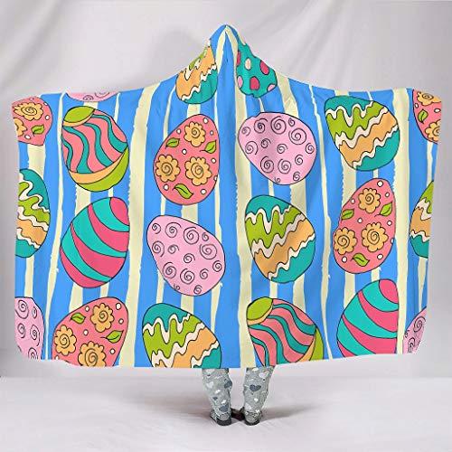 AXGM Manta infantil unisex con capucha, diseño de rayas azules, multicolor, con huevos de Pascua, impresión 3D, supersuave, manta de viaje, sillón blanco, 130 x 150 cm
