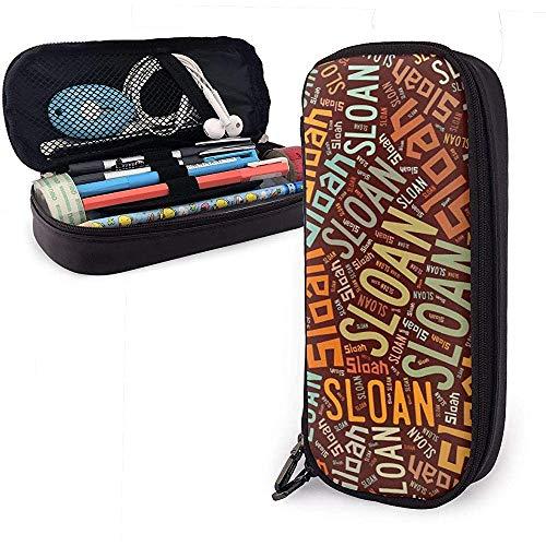 Sloan Amerikanischen Nachnamen Hohe Kapazität Leder Federmäppchen Stifthalter Aufbewahrungstasche Box Organizer Schule Make-Up Stift Tragbare Kosmetiktasche