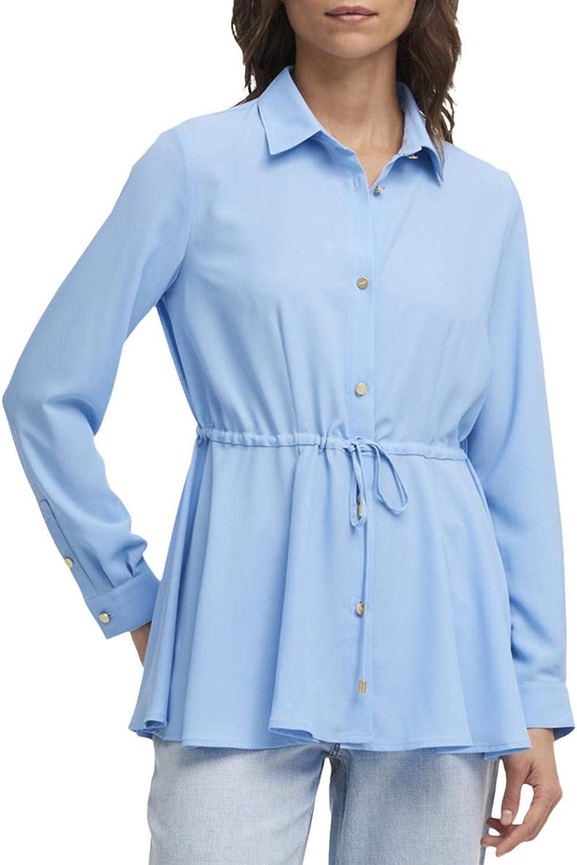 DKNY Womens Collar ButtonDown Peplum Top