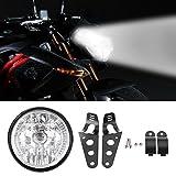 Motorcycle Headlight, Universal 7 Inch Motorcycle Bike Headlight LED Turn Signal Light with Black Bracket Mount for Motorcycle Motorbike ATV