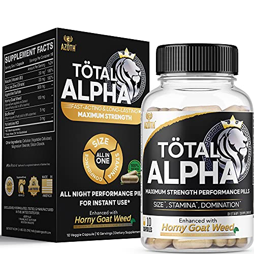 AZOTH XL Alpha Male Enhancing Supplement Nitric Oxide Blood Flow Supplement for Size, Volume & Stamina - Premium Horny Goat Weed for Men, Agmatine, Yohimbine & Zinc - Go On Red (10 Count)