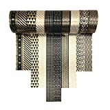 VIVIQUEN Gold Washi Tape Set 15MM Foil Skinny Masking Tape Decorative Pack for DIY Scrapbooking, Crafts, Gift Wrapping, Holiday Decoration (Black Basic Pattern 10 Rolls)