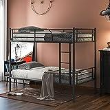 Mingfuxin Litera individual, marco de cama de metal de 2 x 3 pies con escaleras y barandilla de seguridad, dividido en 2...