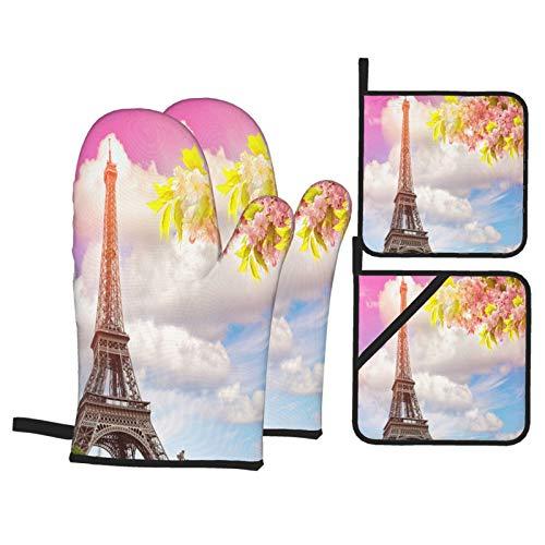 Juego de 4 Guantes y Porta ollas para Horno Resistentes al Calor Torre Eiffel de París contra el Azul de Colores para Hornear en la Cocina,microondas,Barbacoa