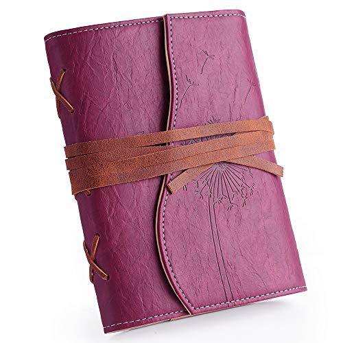 Diario da donna in pelle vegana, 17,8 x 12,7 cm, 192 penne stilografiche a righe, ricaricabile, con rilegatura in pelle, ideale come regalo per insegnanti, vegetariani Lined Viola rosso.