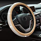 New Diamond Leather Steering Wheel Cover with Bling Bling Crystal Rhinestones, Universal Fit 15 Inch Anti-Slip Wheel Protector for Women Girls,Gold