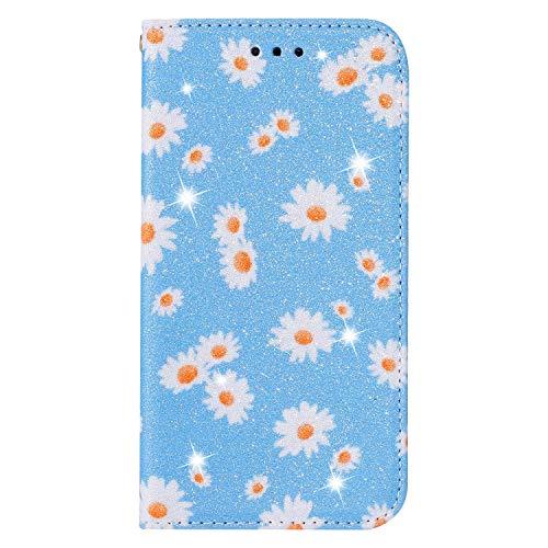BAILI Lederhülle für Samsung Galaxy S20 Lite Hülle,Tasche Cover Etui Handyhülle für Samsung Galaxy S20 Lite,Flip Hülle für Daisy Flowers Handyhülle,Blau