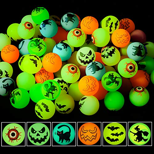 NEWBEA 72 Halloween Theme Designs Bouncing Balls - Glow in The Dark Bouncy Party Favors Supplies for...