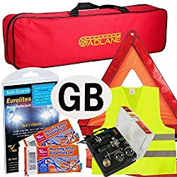 KIT INCLUDES - Eurolites Headlight Adaptors, Warning Triangle, Hi-Visibility Vest, Magnetic GB Plate, Universal Bulb Kit, Twin Pack NF Approved Breathalsyer & Zipped Canvas-Style Carry Bag HEADLIGHT ADAPTORS - Convert the vehicle's beam pattern so it...