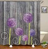 Dandelion Duschvorhang, Stoff, dekoratives Design mit blauen Pusteblumen, grau-braunem Holzbrett, Polyesterstoff, Badezimmervorhänge mit Haken, 183 x 183 cm (s2818)