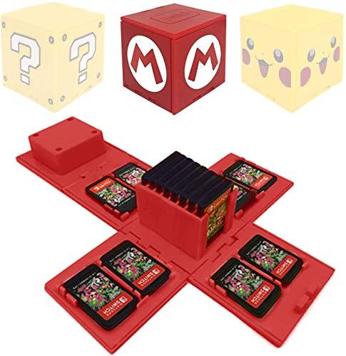 ALOUWEEKUKY Funda de Juego - Compatible para Nintendo Switch Compatible con hasta 16 Juegos de Nintendo Switch Organizador de Tarjeta de Juego Contenedor de Viaje (Mario Rojo)