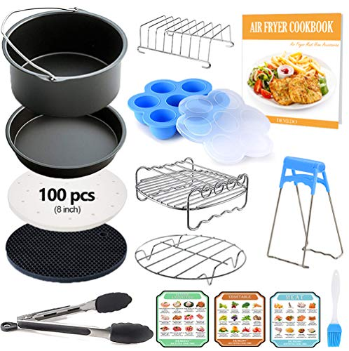 8 inch XL Air Fryer Accessories, Instant Pot Accessories, 12 Pcs with Recipe Cookbook, Fit for 5.3 QT-5.8 QT Air Fryer and Pressure Cooker, Gowise USA, COSORI are Compatible