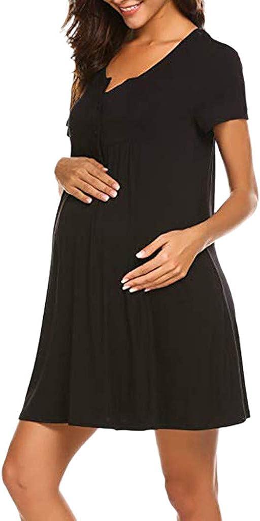 Pacoco Women's Maternity Dress Nightshirt Short Sleeve Button Nightgown V-Neck Breastfeeding Sleepwear Pajama Dress