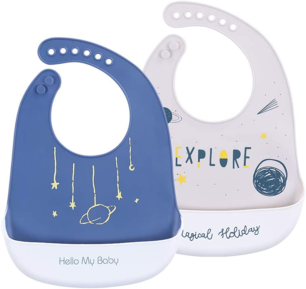 Food Grade Silicone Baby Bibs with Food Catcher Pocket,BPA Free,Waterproof,Soft Toddler Bibs for Boy and Girl,Set of 2