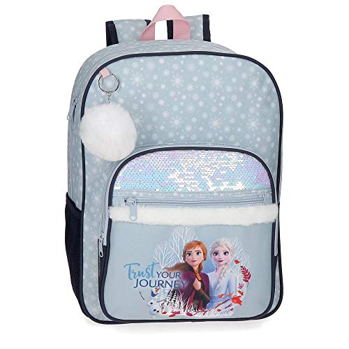 Disney Mochila Frozen con lentejuelas Trust your journey escolar 38cm, Azul