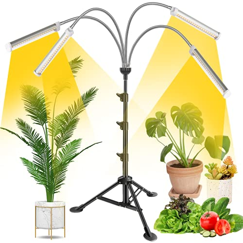 Plant Grow Light Grow Lights for Indoor Plants Full Spectrum 4-Head 200W Led Plant Grow Light with Auto ON/Off Switch 3/6/12H Timer 6 Dimmable Levels Adjustable Tripod Stand 15-57 inches