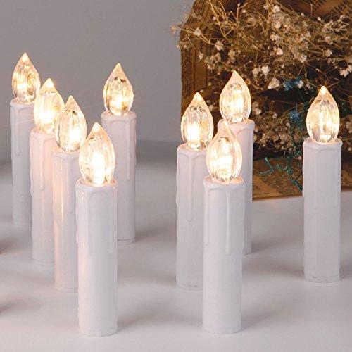 CCLIFE TÜV GS LED Weihnachtskerzen Kabellos RGB Kerzen Bunt Weihnachtsbaumkerzen Christbaumkerzen mit Fernbedienung Timer Kerzenlichter, Farbe:Weiss, Größe:30er