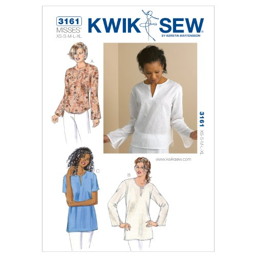 Kwik Sew K3161 Top and Tunics Sewing Pattern, Size XS-S-M-L-XL