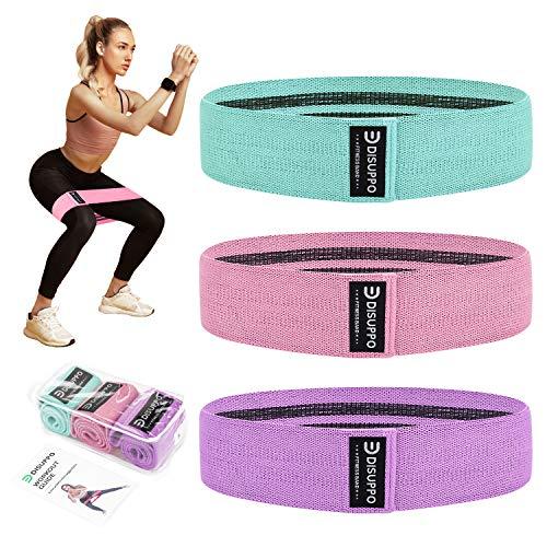 DISUPPO Bande Élastique Fitness Set de 3, Bande de Résistance pour Yoga, Pilates, Rééducation Physique, Resistance Band pour Musculation avec Sac de Rangement (3-Colors)