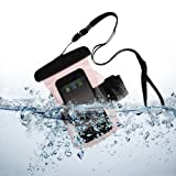 SumacLife Armband Waterproof Pouch Case for iPhone 6, HTC One Remix, Mini 2, One E8, Nokia Lumia 530 521 520, Sony Xperia E3, Z1 Compact (Pink)