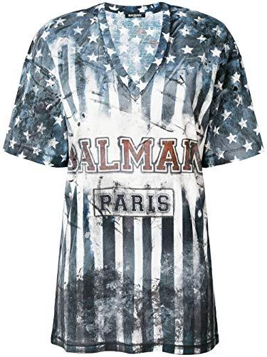 Balmain Luxury Fashion Damen 128117720I5800 Blau Baumwolle T-Shirt | Jahreszeit Permanent