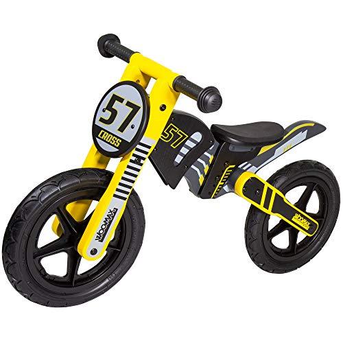 WOOMAX - Bici sin pedales madera, moto cross, bici moto, moto sin pedales para niños, , bici para niños de 2 a 5 años, 25 Kg, color negro y amarillo, de madera (85370)