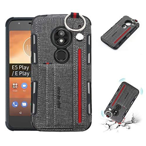 Funda Protectora telefónica para Motorola Moto E5 Play Plaza Textura + TPU Funda Protectora a Prueba de Golpes con Anillo de Metal y Soporte y tragamonedas y Correa Colgante (Negro) (Color : Gray)