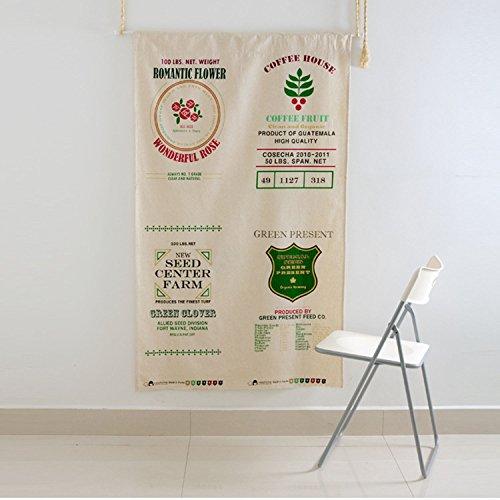 FUYA Rideau brise-bise décoratif en lin pour cuisine et restaurant - Style rétro - Motif drapeau en coton