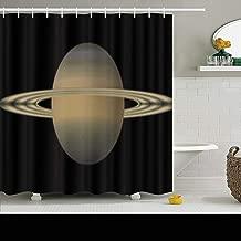 ArtsDecor Shower Curtains Sets with Hooks 66 x 72 Inches Solar Saturn Science Dark Waterproof Polyester Fabric Bath Bathroom Curtain