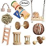 Vankcp - Giocattoli da masticare per criceti, in legno naturale, confezione da 10 pezzi