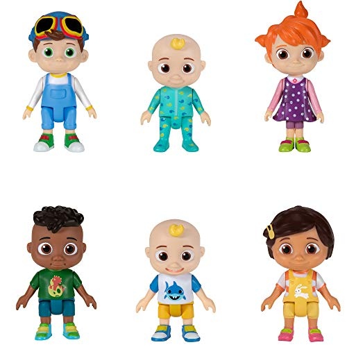 Cocomelon Friends & Family, 6 Figure Pack, 3 Toys Featuring JJ, Bella, Nina, YoYo, Tomtom and Cody – Character Toys for Babies, Toddlers, and Kids