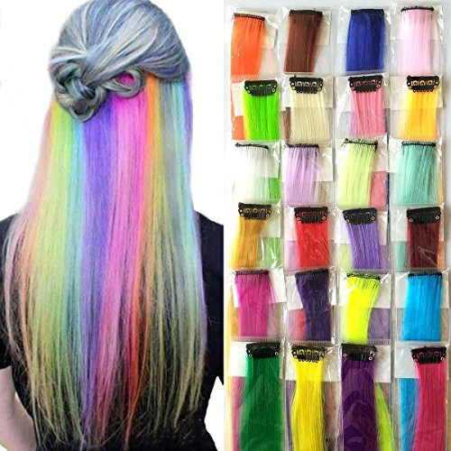 Doren Synthetic Clip In Hair Extensions 24 Colors Long Straight Hairpieces 20 inches Clip On Highlights Colorful Pack of 24pcs