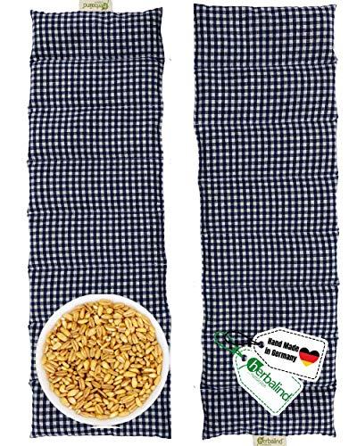 Herbalind 4020 8-Kammer-Körnerkissen Wärmekissen Mikrowelle geeignet - 60x20 cm in karo blau - 100% Baumwolle OEKO TEX Roggen Weizen Kissen