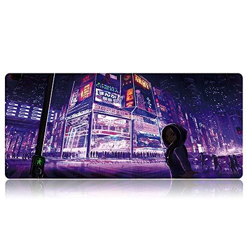 Bimormat Großes Gaming Mauspad(900x400mm) XXL Large Anime Mousepad Empfindliche Genähten Kanten wasserdichte Oberfläche rutschfeste Gummibasis Schreibtischunterlage (90x40 X9roadgirl)