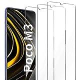 AROYI 3 Pack Protector de Pantalla Compatible con Xiaomi Poco M3, Cristal Templado 9H Dureza Alta Definicion Protector Pantalla Compatible con Xiaomi Poco M3 Cristal Vidrio Templado Premium