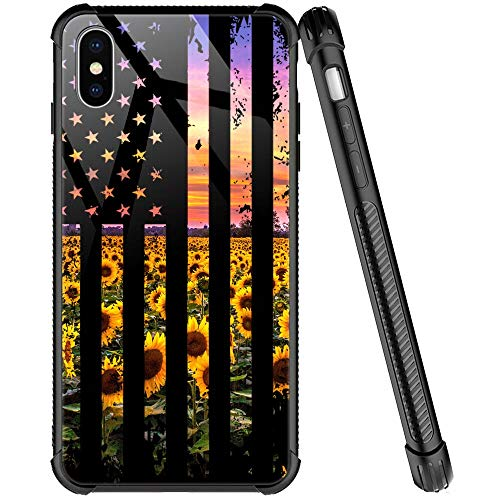 iPhone XR Case,Flag Sunflowers Pattern Tempered Glass iPhone XR Cases for Girls Women,Four Corners Desgin Anti-Scratch Shockproof Cover Compatible with iPhone XR