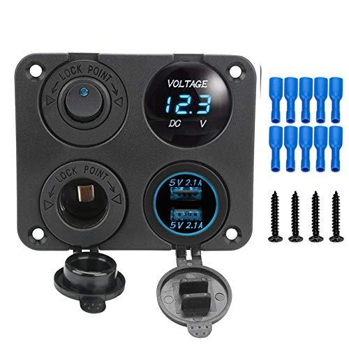LICHONGUI 12V Potencia 4in1 Panel de conmutación Impermeable voltímetro Digital Coche Dual USB Cargador de Cargador Encendedor de Cigarrillos con Interruptor de balancín (Color : Blue)