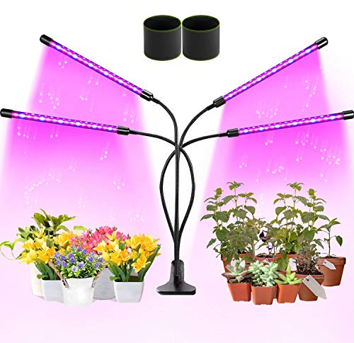 Grow Light,LED Grow Lamp for Indoor Plants Seed Starting Full Spectrum Flexible Gooseneck Head Clip Kit Bonsai Vegetable Succulent Auto on/Off Timer 10 Dimmable Levels (4 Lights) & Two Grow Bags Free