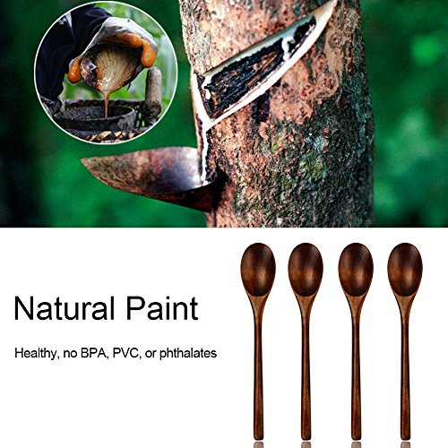 Wooden Spoons, Wood Spoons for Eating, 6 Pieces Japanese Natural Plant Ellipse Wooden Ladle Spoon Set for Cooking Mixing Stirring Honey Tea Soda Dessert Coconut Bowl Nonstick Pots Kitchen