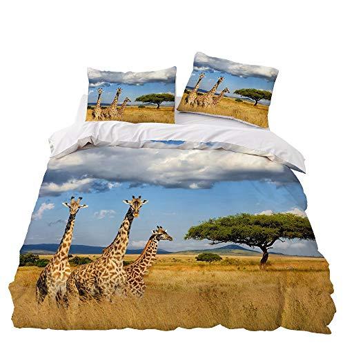 JXING - Juego de cama 3D con diseño de jirafa de animales de las Prairiese, 2/3 piezas, funda de edredón de microfibra cómoda, diseño de animales salvaje, estampado de jirafa 5,Single-135 x 200 cm