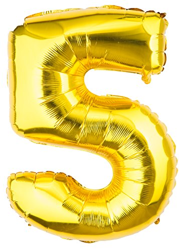 Happy Dolphins Gold Birthday/Party Number Balloons, 0-9, 40'' (Gold Birthday/Party Balloon 5)
