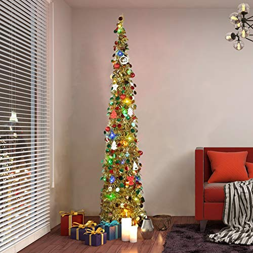 Mrinb 5FT Artificial Christmas Tree with Christmas Sequin Tinsel Popup Collapsible with Stand for Holiday, Apartment, Party, Home, Office, Xmas Decorations