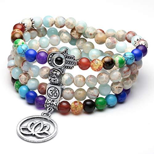 JSDDE 108 Perlen Edelstein Yoga Armband Wickelarmabnd 7 Chakra Lotus Anhänger Perlenarmband Healing Reiki Mala Kette Tibetische Halskette Gebetskette (Kaiser Jaspis)