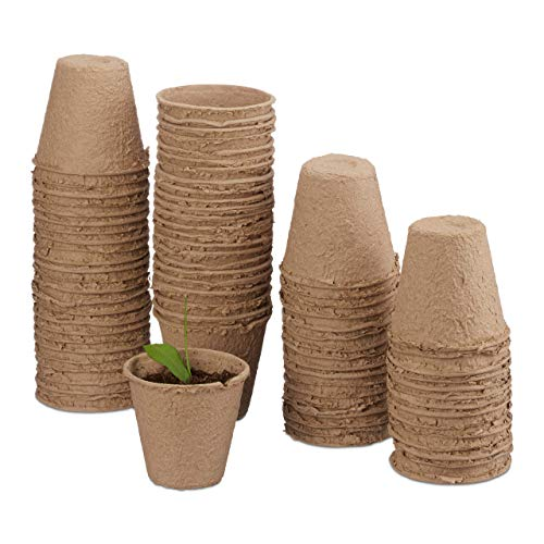 Relaxdays, beige Anzuchttöpfe im Set, biologisch abbaubar, für Pflanzen, 80 Stück Pflanztöpfe, Zellulose, rund, 8 cm