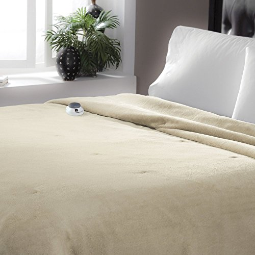 Serta | Luxurious Velvet Plush Heated Electric Warming Blanket with Safe & Warm Low-Voltage Technology, King, Pearl