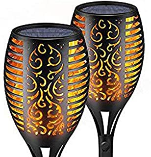 Newest upgraded 2 Pack mini small special design solar torch flame lights outdoor dancing flame flickering waterproof solar torch lantern lamp for Garden Yard Path Landscape decoration and lighting
