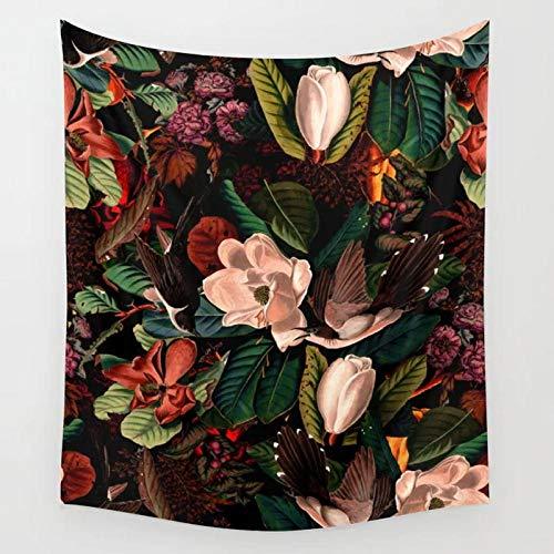 YDH Tapiz Floral y de pájaros Flores Tapices para Colgar en la Pared Arte de la Pared del Dormitorio Decoración del hogar Viaje Camping Toalla de Playa- (71x91 Pulgadas) (180x230cm)